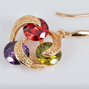 NWT 18K Gold with Ruby, peridot & amethyst stones
